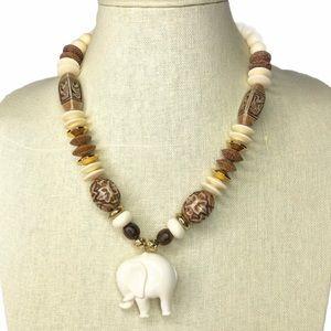Vintage Elephant Pendant Molded Bead Necklace